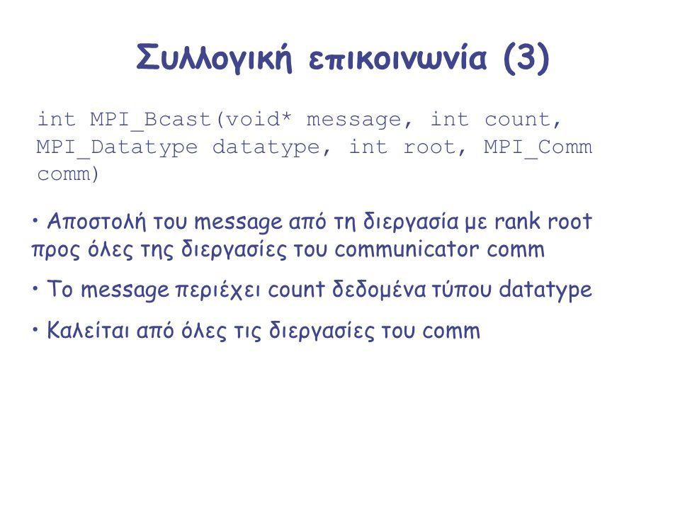 Συλλογική επικοινωνία (3) int MPI_Bcast(void* message, int count, MPI_Datatype datatype, int root, MPI_Comm comm) Αποστολή του message από τη διεργασί