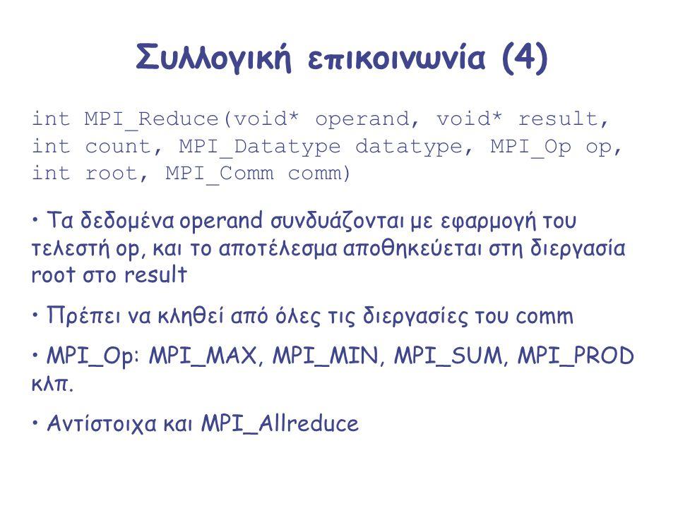Συλλογική επικοινωνία (4) int MPI_Reduce(void* operand, void* result, int count, MPI_Datatype datatype, MPI_Op op, int root, MPI_Comm comm) Τα δεδομέν