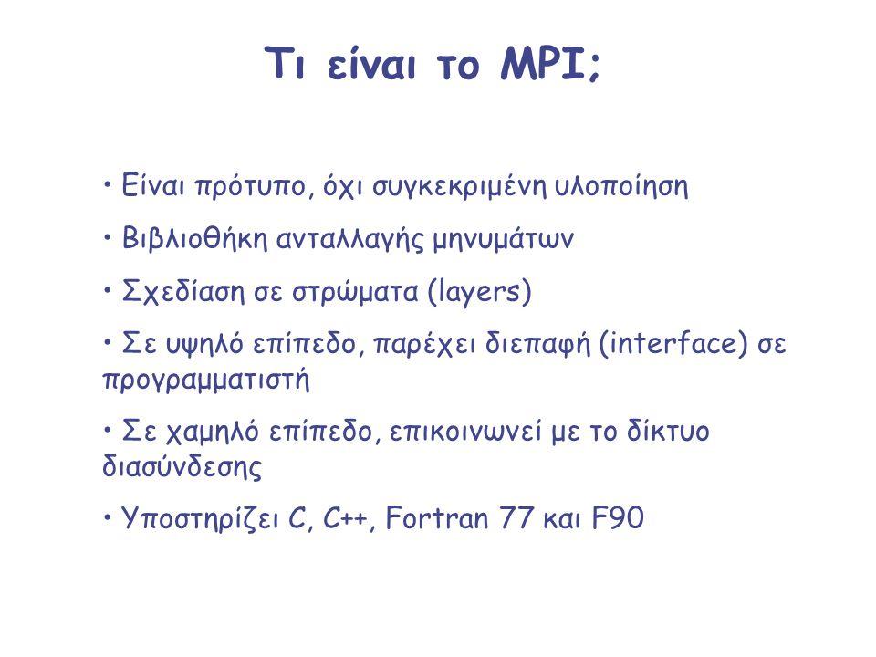 Τι είναι το MPI; Είναι πρότυπο, όχι συγκεκριμένη υλοποίηση Βιβλιοθήκη ανταλλαγής μηνυμάτων Σχεδίαση σε στρώματα (layers) Σε υψηλό επίπεδο, παρέχει διε
