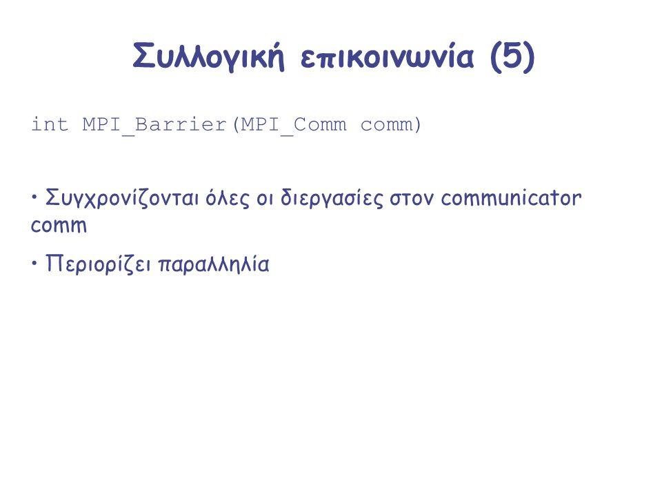Συλλογική επικοινωνία (5) int MPI_Barrier(MPI_Comm comm) Συγχρονίζονται όλες οι διεργασίες στον communicator comm Περιορίζει παραλληλία