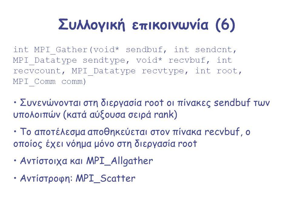 Συλλογική επικοινωνία (6) int MPI_Gather(void* sendbuf, int sendcnt, MPI_Datatype sendtype, void* recvbuf, int recvcount, MPI_Datatype recvtype, int r