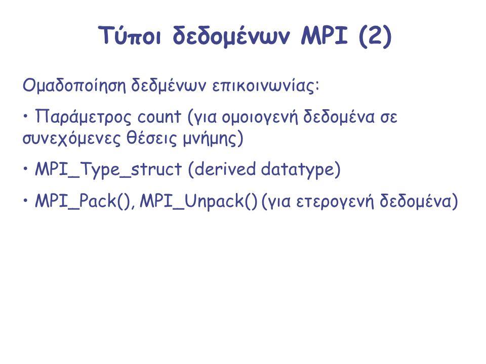 Τύποι δεδομένων MPI (2) Ομαδοποίηση δεδμένων επικοινωνίας: Παράμετρος count (για ομοιογενή δεδομένα σε συνεχόμενες θέσεις μνήμης) MPI_Type_struct (der