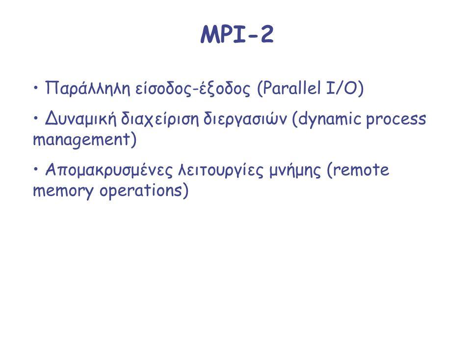 MPI-2 Παράλληλη είσοδος-έξοδος (Parallel I/O) Δυναμική διαχείριση διεργασιών (dynamic process management) Απομακρυσμένες λειτουργίες μνήμης (remote me