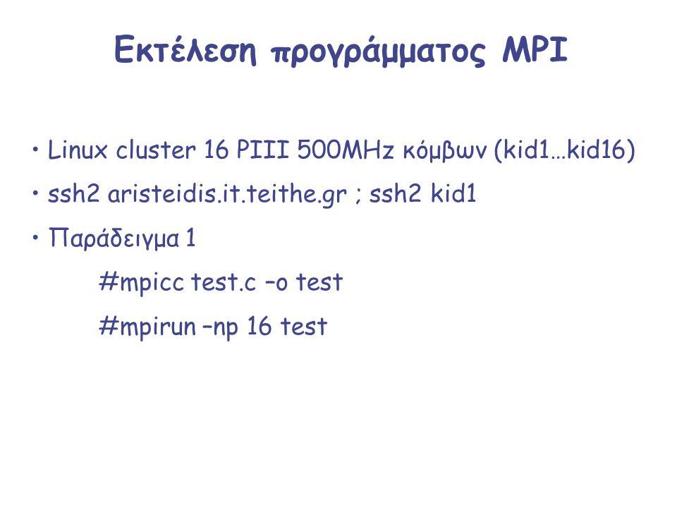 Εκτέλεση προγράμματος MPI Linux cluster 16 PIII 500MHz κόμβων (kid1…kid16) ssh2 aristeidis.it.teithe.gr ; ssh2 kid1 Παράδειγμα 1 #mpicc test.c –o test