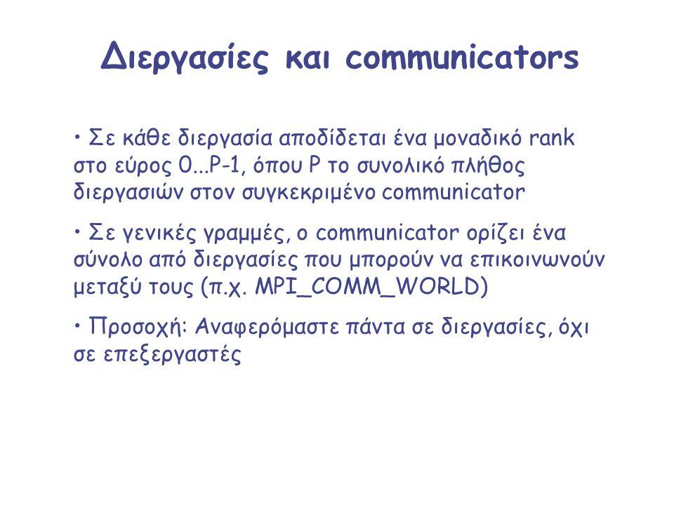 Διεργασίες και communicators Σε κάθε διεργασία αποδίδεται ένα μοναδικό rank στο εύρος 0...P-1, όπου P το συνολικό πλήθος διεργασιών στον συγκεκριμένο