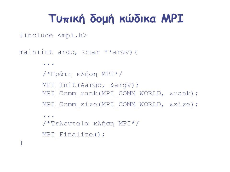 Τυπική δομή κώδικα MPI #include main(int argc, char **argv){... /*Πρώτη κλήση MPI*/ MPI_Init(&argc, &argv); MPI_Comm_rank(MPI_COMM_WORLD, &rank); MPI_