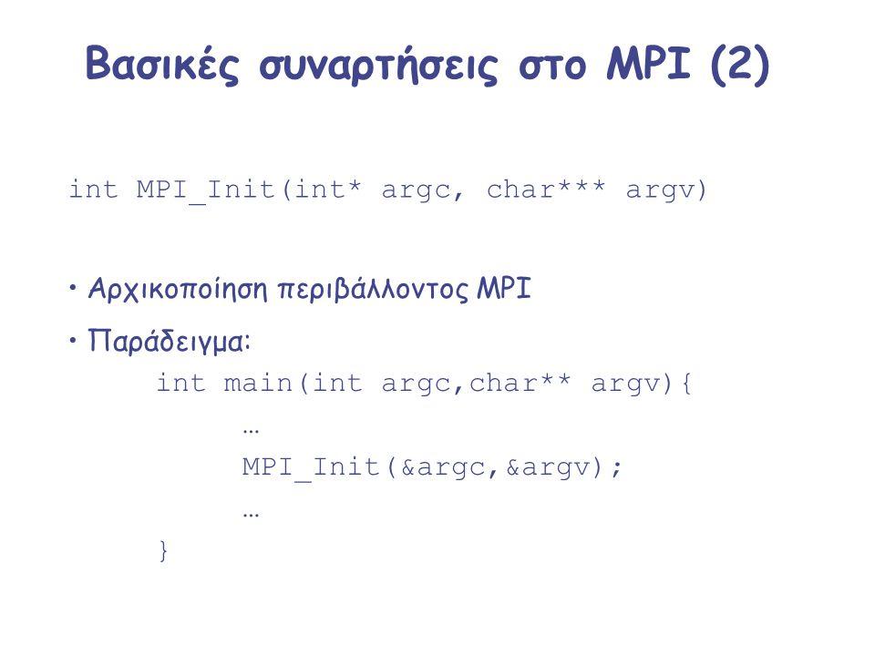 Βασικές συναρτήσεις στο MPI (2) int MPI_Init(int* argc, char*** argv) Αρχικοποίηση περιβάλλοντος MPI Παράδειγμα: int main(int argc,char** argv){ … MPI