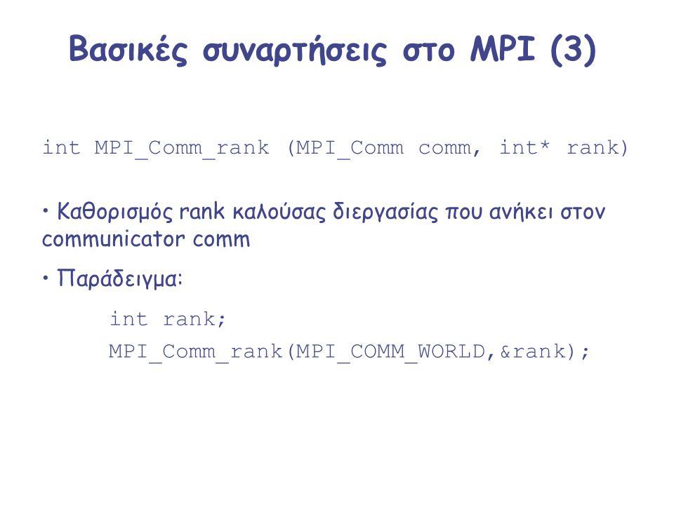 Βασικές συναρτήσεις στο MPI (3) int MPI_Comm_rank (MPI_Comm comm, int* rank) Καθορισμός rank καλούσας διεργασίας που ανήκει στον communicator comm Παρ