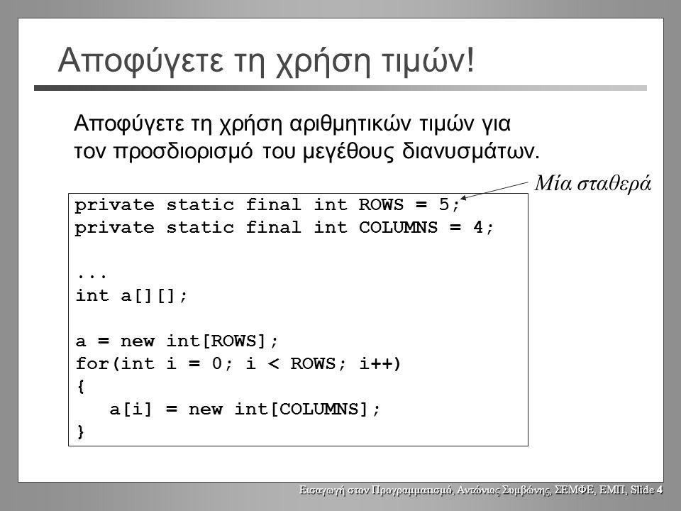 Εισαγωγή στον Προγραμματισμό, Αντώνιος Συμβώνης, ΣΕΜΦΕ, ΕΜΠ, Slide 4 Αποφύγετε τη χρήση τιμών! private static final int ROWS = 5; private static final