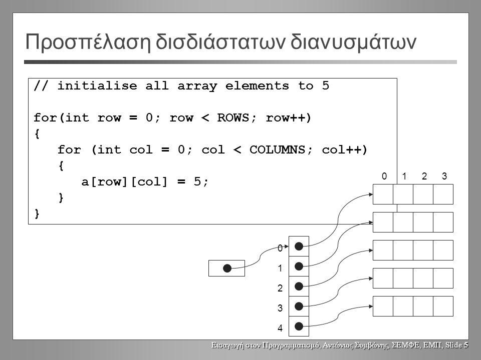 Εισαγωγή στον Προγραμματισμό, Αντώνιος Συμβώνης, ΣΕΜΦΕ, ΕΜΠ, Slide 5 // initialise all array elements to 5 for(int row = 0; row < ROWS; row++) { for (