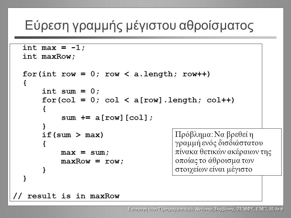 Εισαγωγή στον Προγραμματισμό, Αντώνιος Συμβώνης, ΣΕΜΦΕ, ΕΜΠ, Slide 6 Εύρεση γραμμής μέγιστου αθροίσματος int max = -1; int maxRow; for(int row = 0; ro