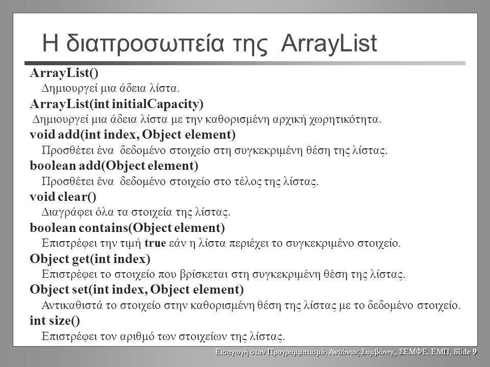 Εισαγωγή στον Προγραμματισμό, Αντώνιος Συμβώνης, ΣΕΜΦΕ, ΕΜΠ, Slide 9 Η διαπροσωπεία της ArrayList ArrayList() Δημιουργεί μια άδεια λίστα. ArrayList(in