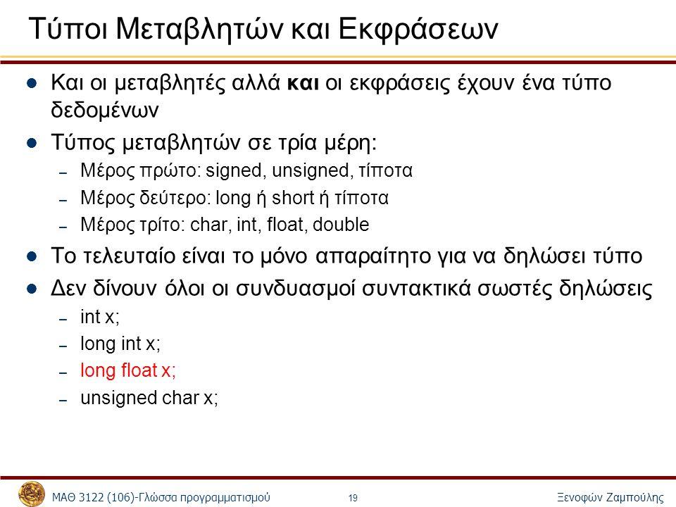 ΜΑΘ 3122 (106)-Γλώσσα προγραμματισμού Ξενοφών Ζαμπούλης 19 Τύποι Μεταβλητών και Εκφράσεων Και οι μεταβλητές αλλά και οι εκφράσεις έχουν ένα τύπο δεδομ