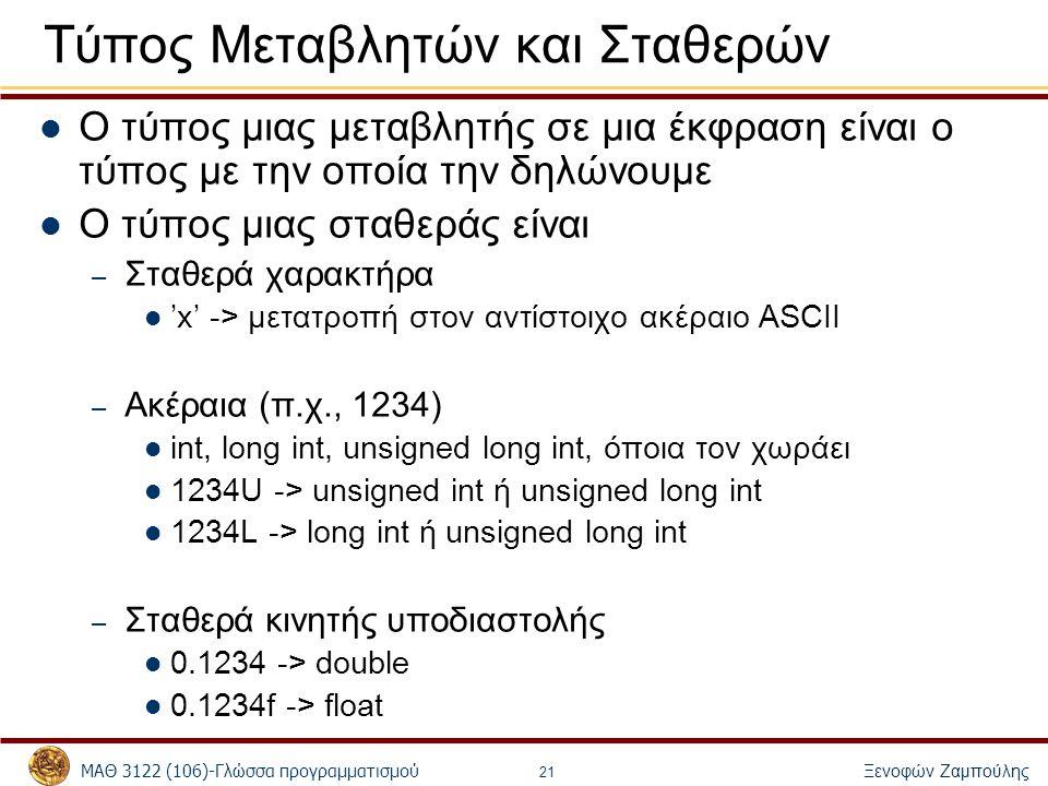 ΜΑΘ 3122 (106)-Γλώσσα προγραμματισμού Ξενοφών Ζαμπούλης 21 Τύπος Μεταβλητών και Σταθερών Ο τύπος μιας μεταβλητής σε μια έκφραση είναι ο τύπος με την ο