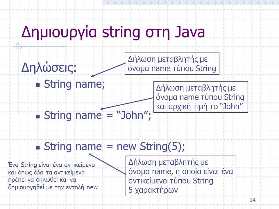 """14 Δημιουργία string στη Java Δηλώσεις: String name; String name = """"John""""; String name = new String(5); Δήλωση μεταβλητής με όνομα name τύπου String Δ"""