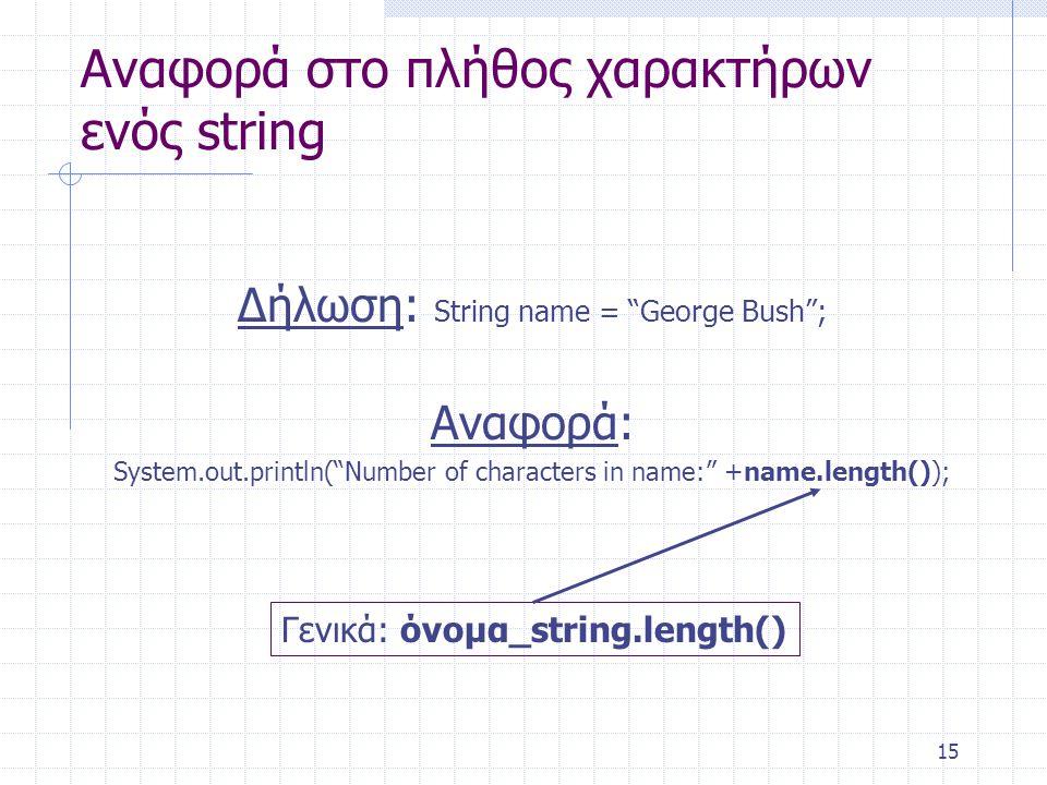 """15 Αναφορά στο πλήθος χαρακτήρων ενός string Δήλωση: String name = """"George Bush""""; Αναφορά: System.out.println(""""Number of characters in name:"""" +name.le"""