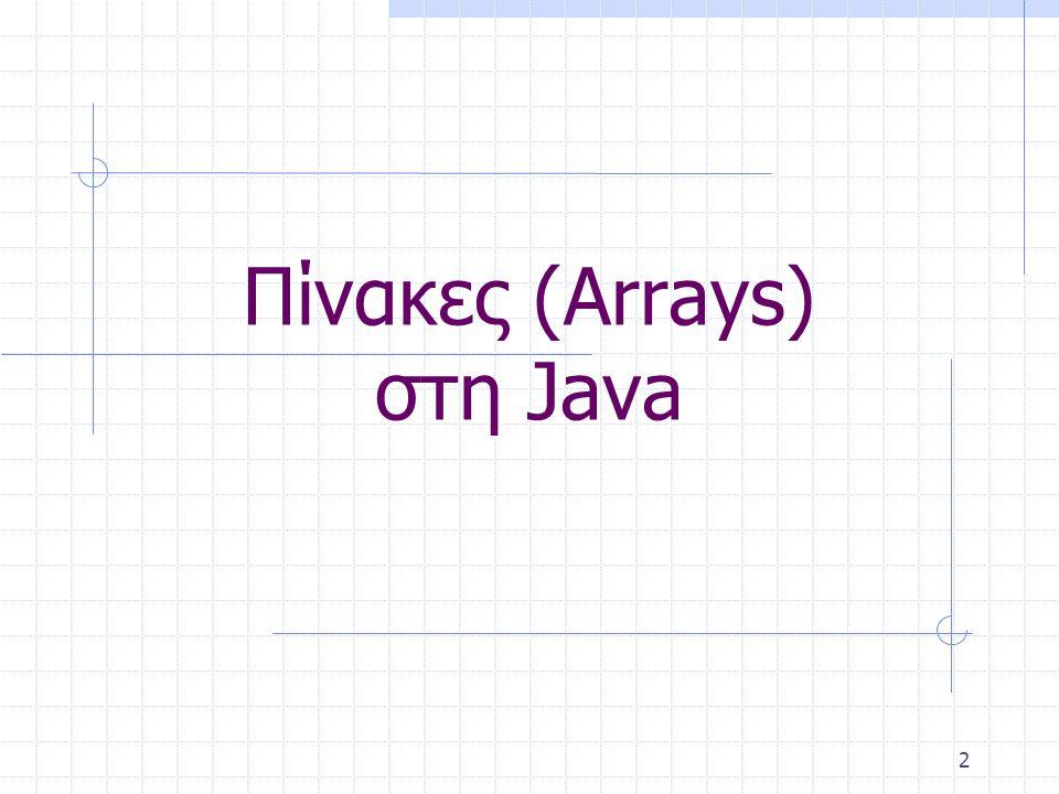 3 Χρησιμότητα Πινάκων Για τον ορισμό ομάδων τιμών του ίδιου τύπου, αντί να ορίζουμε ξεχωριστή μεταβλητή για να αποθηκεύουμε κάθε τιμή, χρησιμοποιούμε πίνακες (arrays) Τα στοιχεία του πίνακα σημειώνονται με κοινό όνομα που συνοδεύεται από ένα δείκτη (index) Ο δείκτης είναι ένας ακέραιος αριθμός τοποθετημένος μέσα σε αγκύλες []