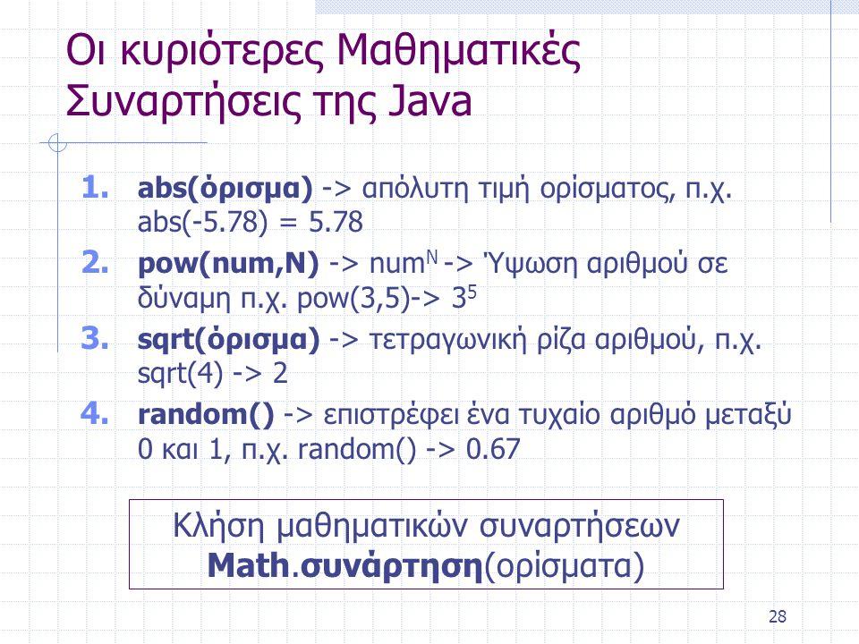 28 Οι κυριότερες Μαθηματικές Συναρτήσεις της Java 1. abs(όρισμα) -> απόλυτη τιμή ορίσματος, π.χ. abs(-5.78) = 5.78 2. pow(num,N) -> num N -> Ύψωση αρι