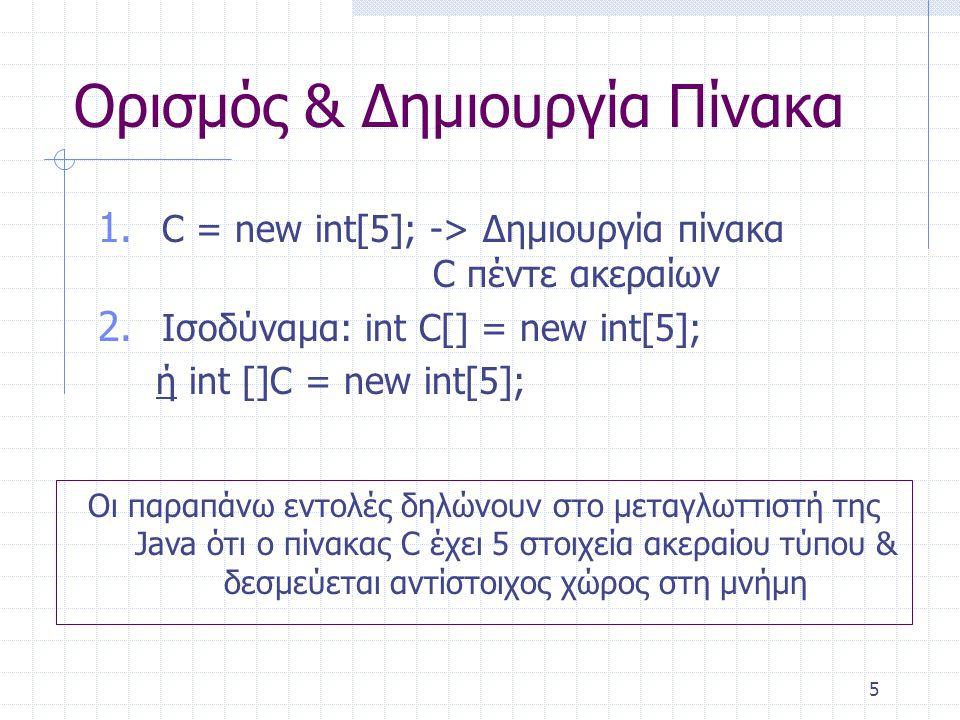 5 Ορισμός & Δημιουργία Πίνακα 1. C = new int[5]; -> Δημιουργία πίνακα C πέντε ακεραίων 2. Ισοδύναμα: int C[] = new int[5]; ή int []C = new int[5]; Οι