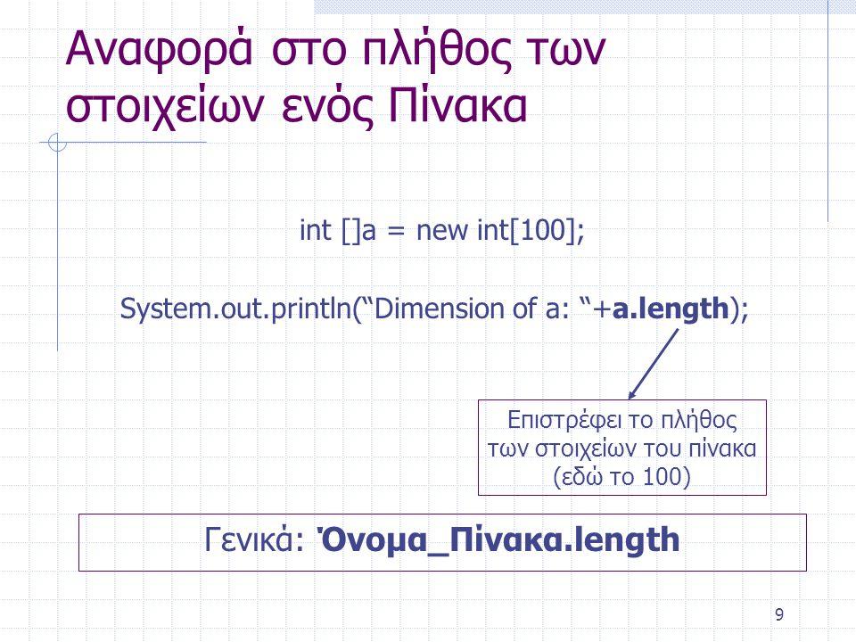 """9 Αναφορά στο πλήθος των στοιχείων ενός Πίνακα int []a = new int[100]; System.out.println(""""Dimension of a: """"+a.length); Επιστρέφει το πλήθος των στοιχ"""