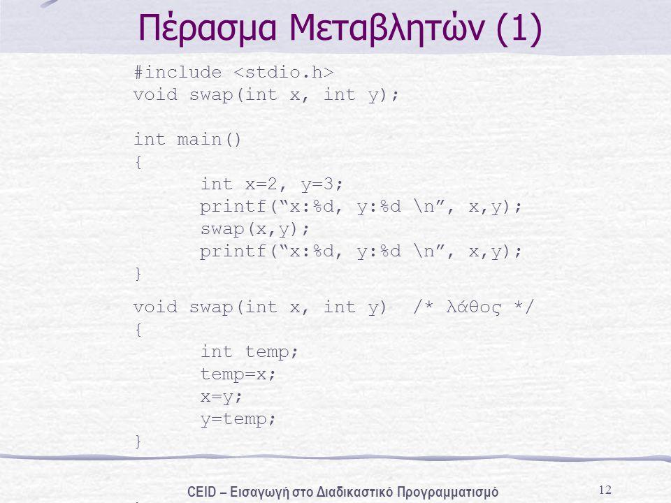 12 Πέρασμα Μεταβλητών (1) #include void swap(int x, int y); int main() { int x=2, y=3; printf( x:%d, y:%d \n , x,y); swap(x,y); printf( x:%d, y:%d \n , x,y); } void swap(int x, int y) /* λάθος */ { int temp; temp=x; x=y; y=temp; } CEID – Εισαγωγή στο Διαδικαστικό Προγραμματισμό