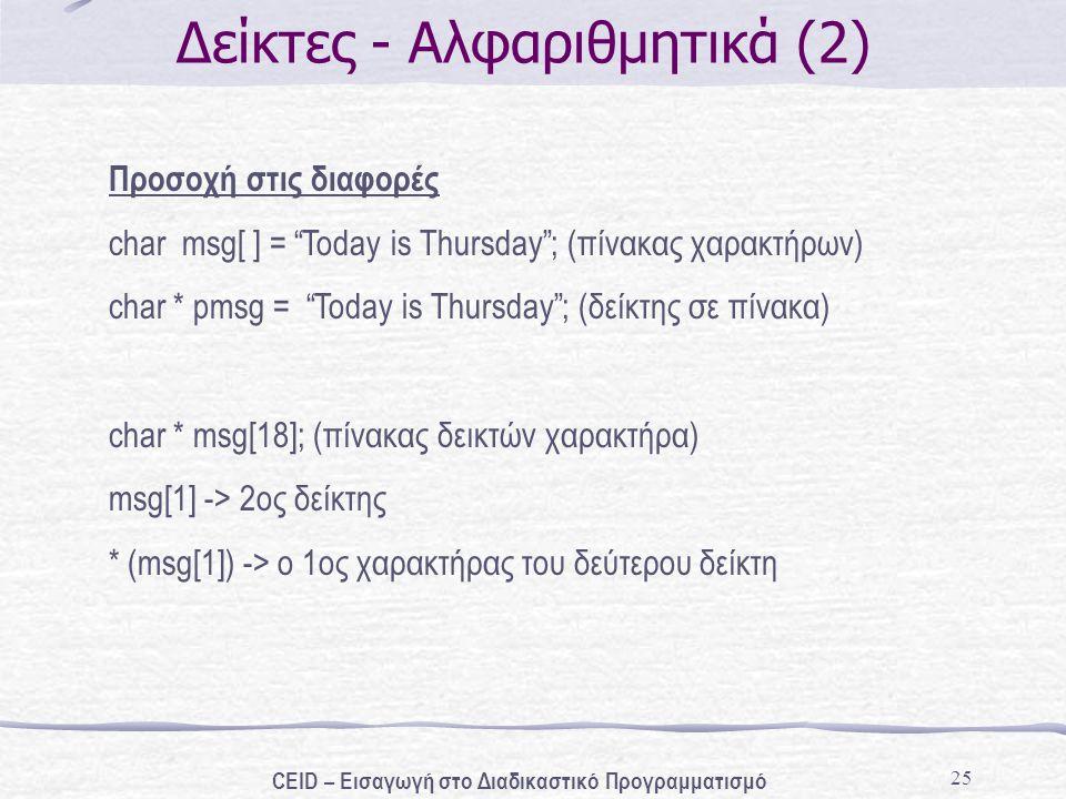 25 Δείκτες - Αλφαριθμητικά (2) Προσοχή στις διαφορές char msg[ ] = Today is Thursday ; (πίνακας χαρακτήρων) char * pmsg = Today is Thursday ; (δείκτης σε πίνακα) char * msg[18]; (πίνακας δεικτών χαρακτήρα) msg[1] -> 2ος δείκτης * (msg[1]) -> o 1ος χαρακτήρας του δεύτερου δείκτη CEID – Εισαγωγή στο Διαδικαστικό Προγραμματισμό