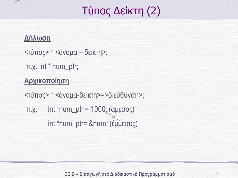 4 Τύπος Δείκτη (2) Δήλωση * ; π.χ. int * num_ptr; Αρχικοποίηση * =>διεύθυνση>; π.χ. int *num_ptr = 1000; (άμεσος) int *num_ptr= # (έμμεσος) CEID –