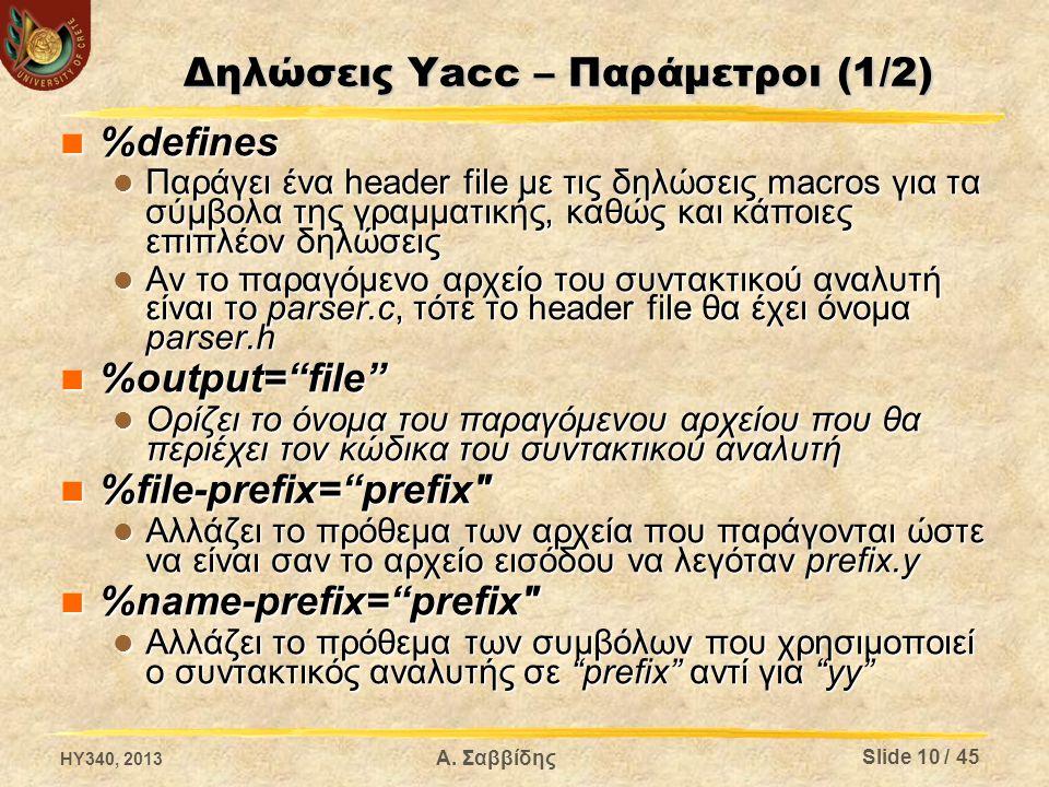 Δηλώσεις Yacc – Παράμετροι (1/2) %defines %defines Παράγει ένα header file με τις δηλώσεις macros για τα σύμβολα της γραμματικής, καθώς και κάποιες επ