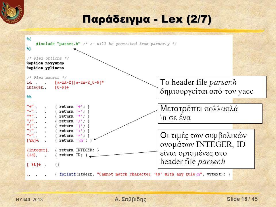 Παράδειγμα - Lex (2/7) T ο header file parser.h δημιουργείται από τον yacc O ι τιμές των συμβολικών ονομάτων INTEGER, ID είναι ορισμένες στο header fi