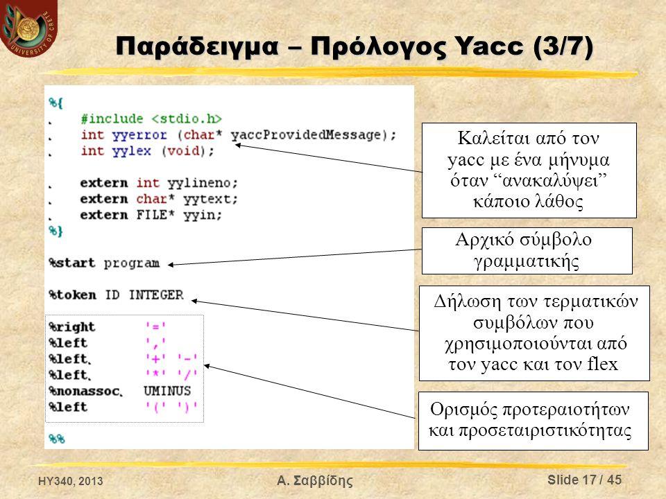 """Καλείται από τον yacc με ένα μήνυμα όταν """"ανακαλύψει"""" κάποιο λάθος Αρχικό σύμβολο γραμματικής Δήλωση των τερματικών συμβόλων που χρησιμοποιούνται από"""