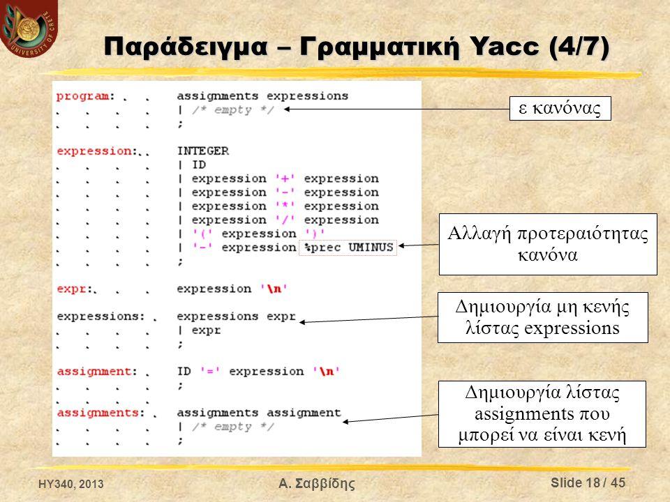 ε κανόνας Αλλαγή προτεραιότητας κανόνα Δημιουργία μη κενής λίστας expressions Δημιουργία λίστας assignments που μπορεί να είναι κενή HY340, 2013 Slide