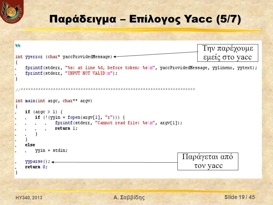 Παράγεται από τον yacc Την παρέχουμε εμείς στο yacc HY340, 2013 Slide 19 / 45 Α. Σαββίδης Παράδειγμα – Επίλογος Yacc (5/7)