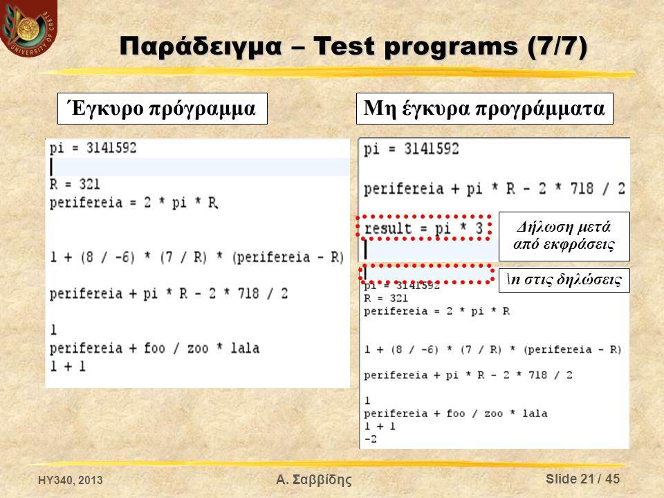 Έγκυρο πρόγραμμαΜη έγκυρα προγράμματα Δήλωση μετά από εκφράσεις \n στις δηλώσεις HY340, 2013 Slide 21 / 45 Α. Σαββίδης Παράδειγμα – Test programs (7/7