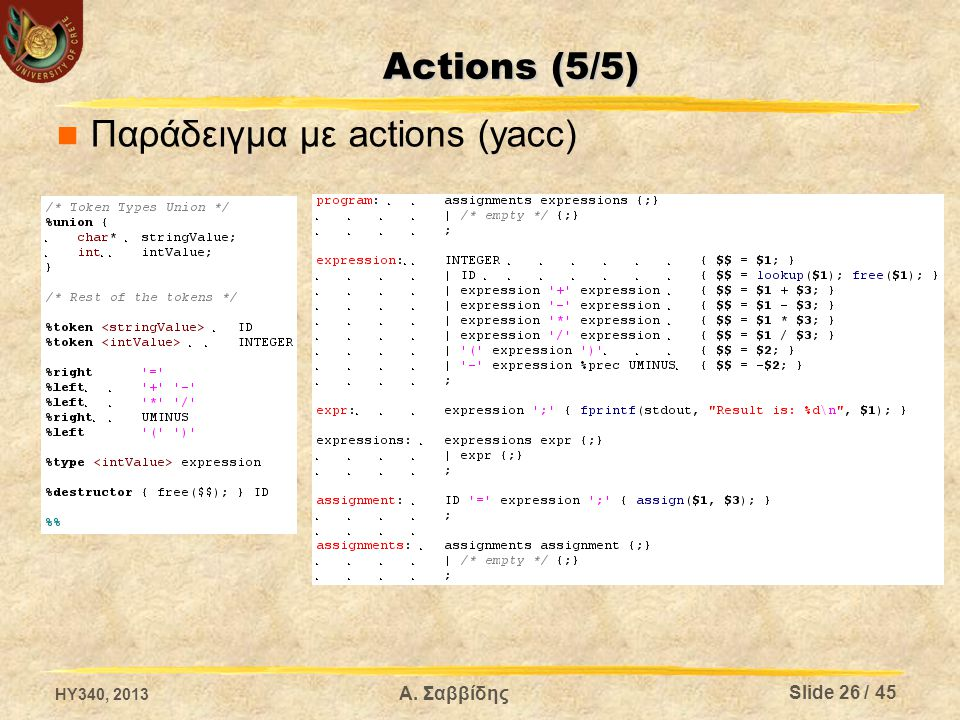 Παράδειγμα με actions (yacc) HY340, 2013 Slide 26 / 45 Α. Σαββίδης Actions (5/5)