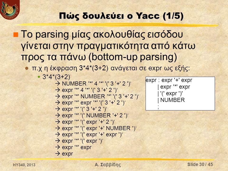Το parsing μίας ακολουθίας εισόδου γίνεται στην πραγματικότητα από κάτω προς τα πάνω (bottom-up parsing) π.χ η έκφραση 3*4*(3+2) ανάγεται σε expr ως ε