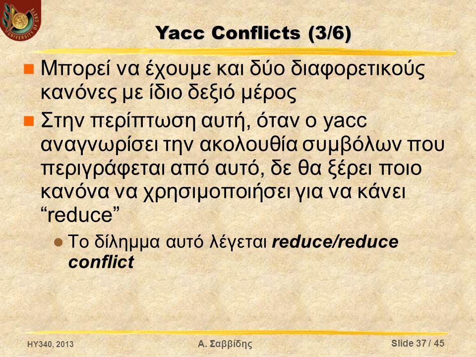 Μπορεί να έχουμε και δύο διαφορετικούς κανόνες με ίδιο δεξιό μέρος Στην περίπτωση αυτή, όταν ο yacc αναγνωρίσει την ακολουθία συμβόλων που περιγράφετα