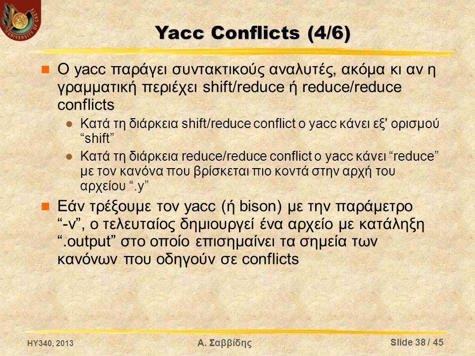 Ο yacc παράγει συντακτικούς αναλυτές, ακόμα κι αν η γραμματική περιέχει shift/reduce ή reduce/reduce conflicts Κατά τη διάρκεια shift/reduce conflict