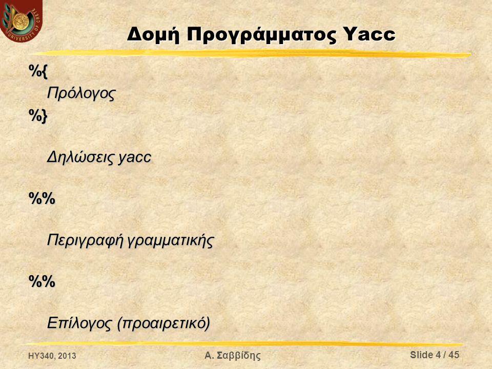 Δομή Προγράμματος Yacc %{Πρόλογος%} Δηλώσεις yacc % Περιγραφή γραμματικής % Επίλογος (προαιρετικό) HY340, 2013 Slide 4 / 45 Α. Σαββίδης
