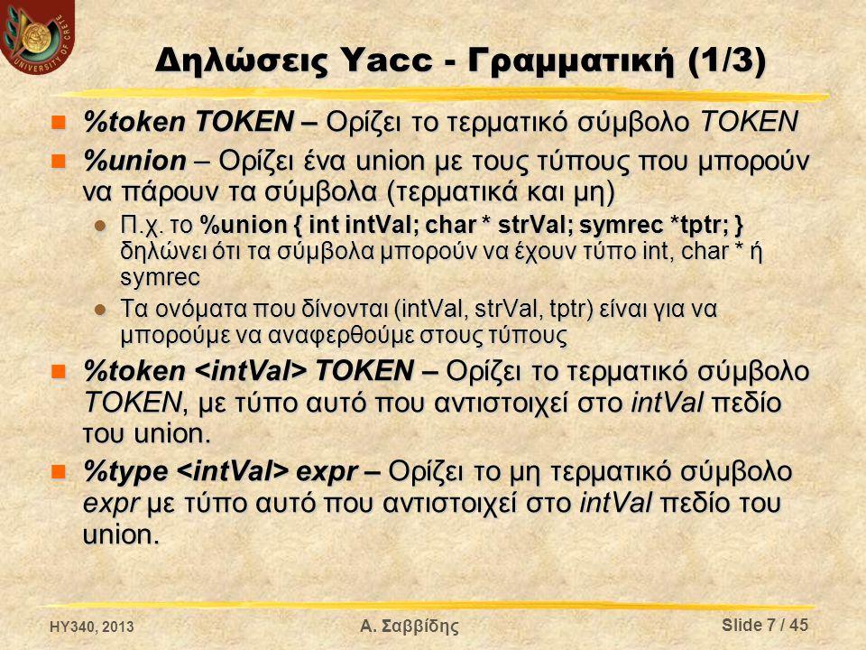 Δηλώσεις Yacc - Γραμματική (1/3) %token ΤΟΚΕΝ – Ορίζει το τερματικό σύμβολο ΤΟΚΕΝ %token ΤΟΚΕΝ – Ορίζει το τερματικό σύμβολο ΤΟΚΕΝ %union – Ορίζει ένα
