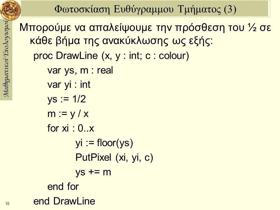 Μαθηματικοί Υπολογισμοί 11 Φωτοσκίαση Ευθύγραμμου Τμήματος (4) Μετά, διασπάμε το ys σε δυο μεταβλητές, ysi και ysf, το ακέραιο και το δεκαδικό μέρος του αντίστοιχα.
