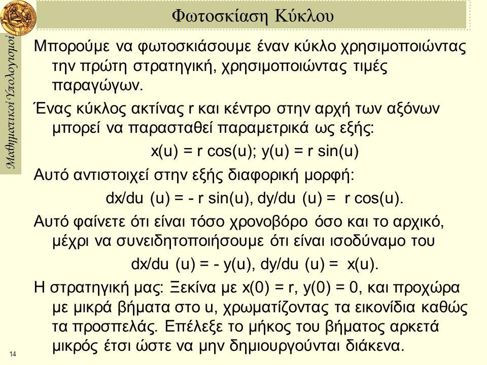 Μαθηματικοί Υπολογισμοί 15 1η Υλοποίηση Για να υλοποιήσουμε την παραπάνω στρατηγική, πρέπει να ρυθμίσουμε μερικές λεπτομέρειες.