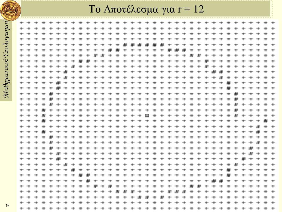 Μαθηματικοί Υπολογισμοί 17 2η Υλοποίηση Μπορούμε να σταματήσουμε την προς τα έξω ελικοειδή κίνηση του κύκλου αλλάζοντας τις επαναλήψεις με τις εξής: x(u + δ) = x(u) – y(u)δ y(u + δ) = y(u) – x(u+δ)δ.