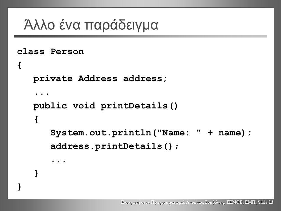 Εισαγωγή στον Προγραμματισμό, Αντώνιος Συμβώνης, ΣΕΜΦΕ, ΕΜΠ, Slide 13 Άλλο ένα παράδειγμα class Person { private Address address;... public void print