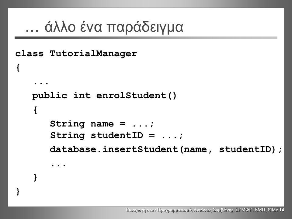 Εισαγωγή στον Προγραμματισμό, Αντώνιος Συμβώνης, ΣΕΜΦΕ, ΕΜΠ, Slide 14... άλλο ένα παράδειγμα class TutorialManager {... public int enrolStudent() { St