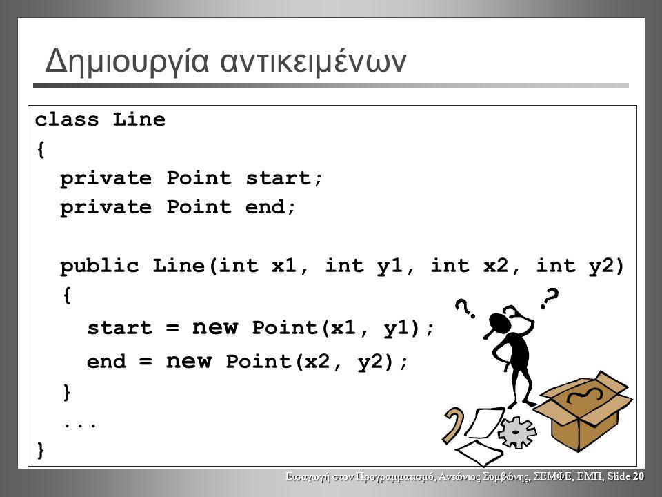 Εισαγωγή στον Προγραμματισμό, Αντώνιος Συμβώνης, ΣΕΜΦΕ, ΕΜΠ, Slide 20 Δημιουργία αντικειμένων class Line { private Point start; private Point end; pub