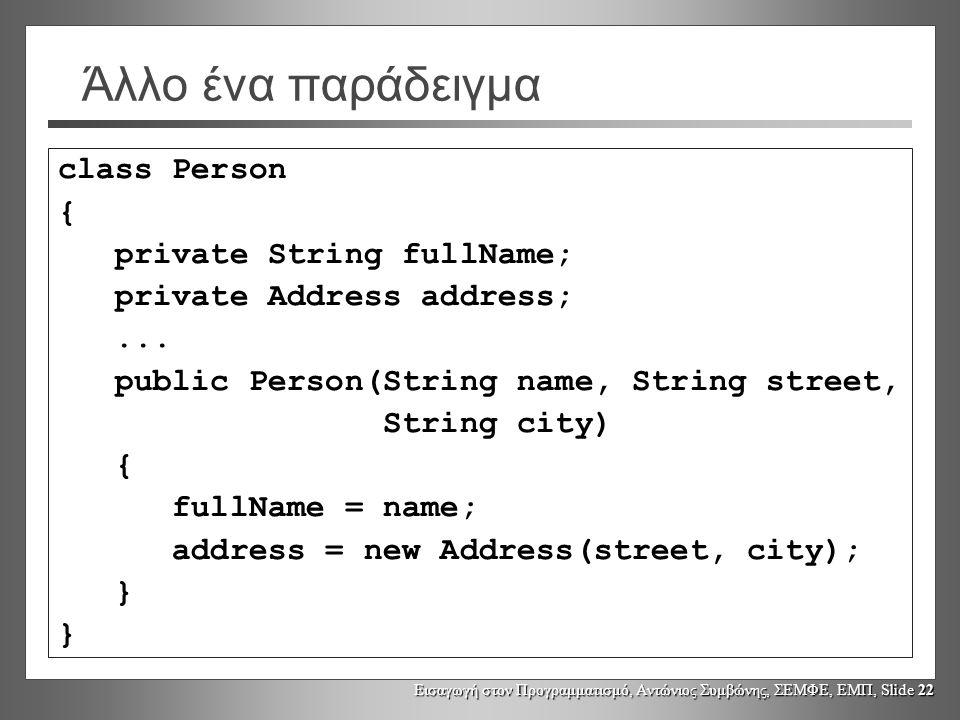 Εισαγωγή στον Προγραμματισμό, Αντώνιος Συμβώνης, ΣΕΜΦΕ, ΕΜΠ, Slide 22 Άλλο ένα παράδειγμα class Person { private String fullName; private Address addr