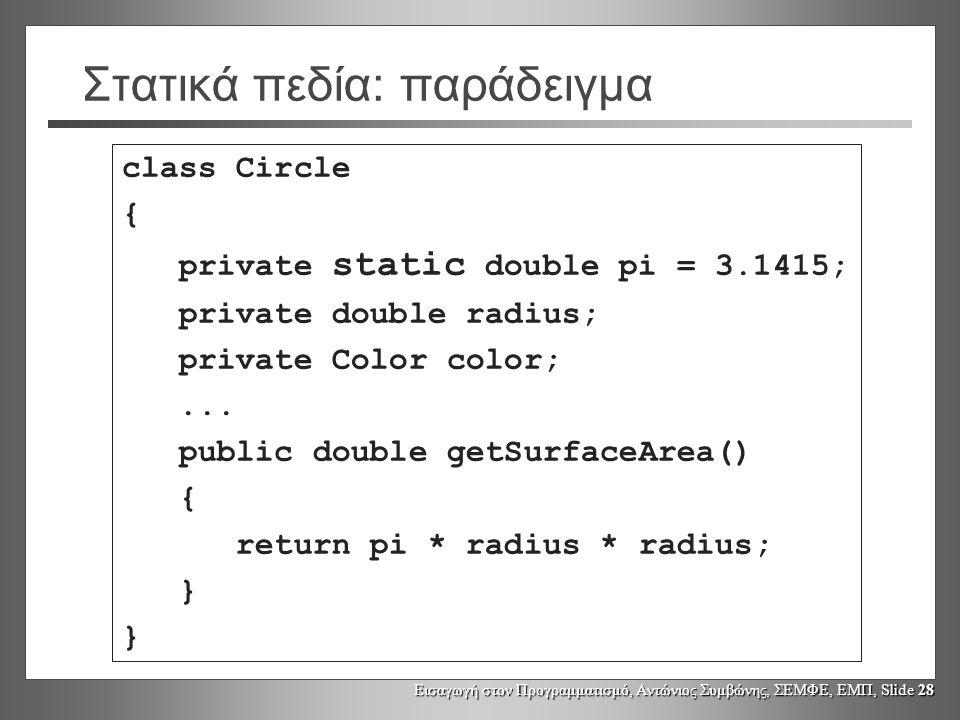 Εισαγωγή στον Προγραμματισμό, Αντώνιος Συμβώνης, ΣΕΜΦΕ, ΕΜΠ, Slide 28 Στατικά πεδία: παράδειγμα class Circle { private static double pi = 3.1415; private double radius; private Color color;...
