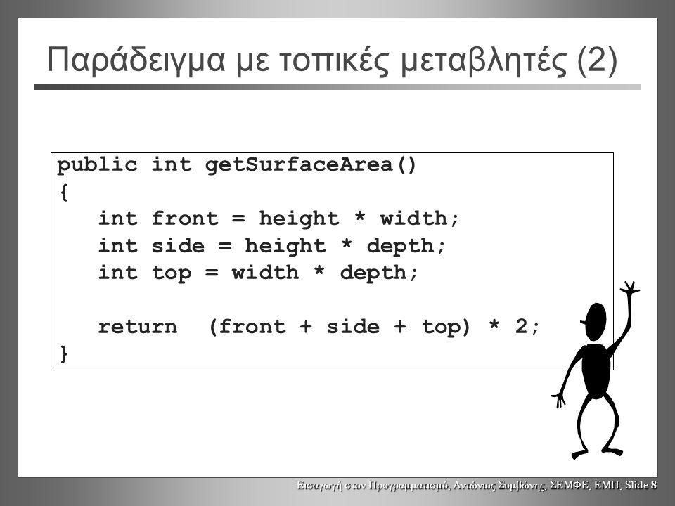 Εισαγωγή στον Προγραμματισμό, Αντώνιος Συμβώνης, ΣΕΜΦΕ, ΕΜΠ, Slide 8 Παράδειγμα με τοπικές μεταβλητές (2) public int getSurfaceArea() { int front = height * width; int side = height * depth; int top = width * depth; return (front + side + top) * 2; }