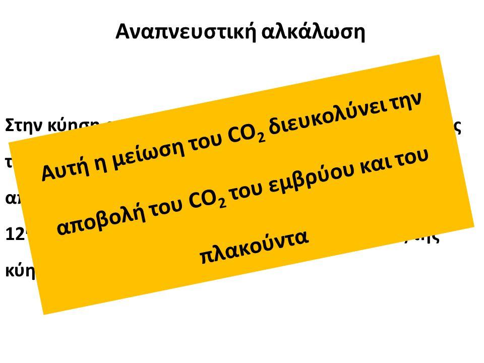 Στην κύηση αυξάνεται ο κατά λεπτό αερισμός εξαιτίας της προγεστερόνης (διεγέρτης αναπνευστικού), με αποτέλεσμα να μειώνεται η PaCO 2 (κατά 30%) από την 12 η εβδομάδα και αυτό παραμένει έως το τέλος της κύησης Αυτή η μείωση του CO 2 διευκολύνει την αποβολή του CO 2 του εμβρύου και του πλακούντα