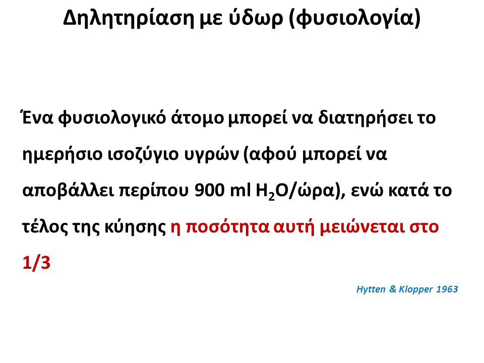 Δηλητηρίαση με ύδωρ (φυσιολογία) Ένα φυσιολογικό άτομο μπορεί να διατηρήσει το ημερήσιο ισοζύγιο υγρών (αφού μπορεί να αποβάλλει περίπου 900 ml Η 2 Ο/ώρα), ενώ κατά το τέλος της κύησης η ποσότητα αυτή μειώνεται στο 1/3 Hytten & Klopper 1963